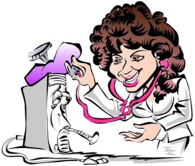 Image result for woman repairing computer cartoon