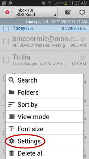 Android Email Setup - Main Menu