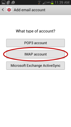 Android Email Setup - Account Type