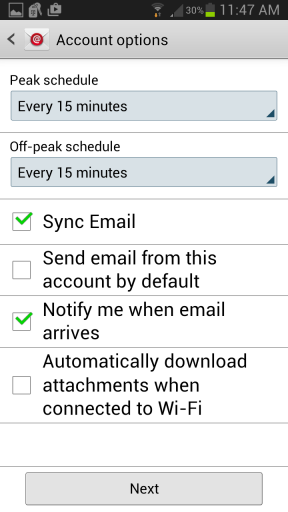 Android Email Setup - Account Options