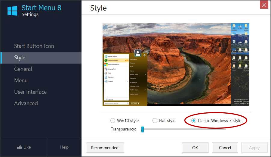 how to change windows 10 menu to windows 7 style